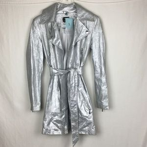 Guess By Marciano Silver Leather Trench Coat - NWT